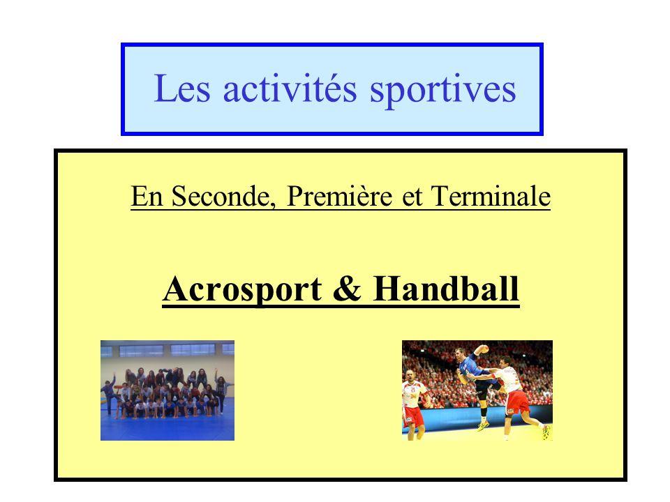 Les activités sportives En Seconde, Première et Terminale Acrosport & Handball