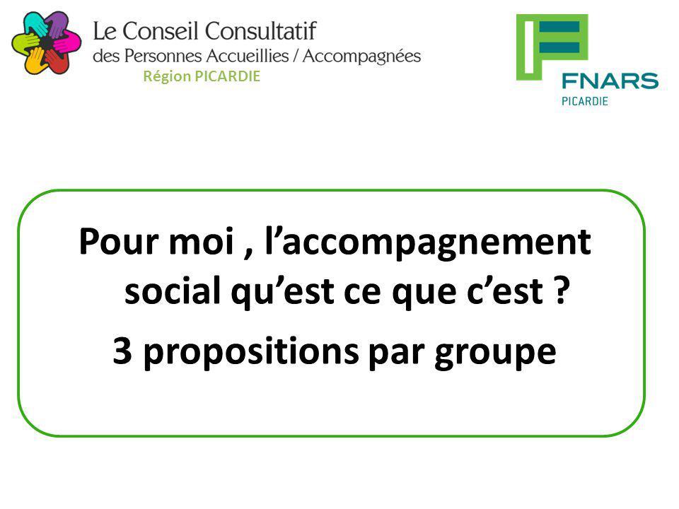 Pour moi, l'accompagnement social qu'est ce que c'est ? 3 propositions par groupe Région PICARDIE