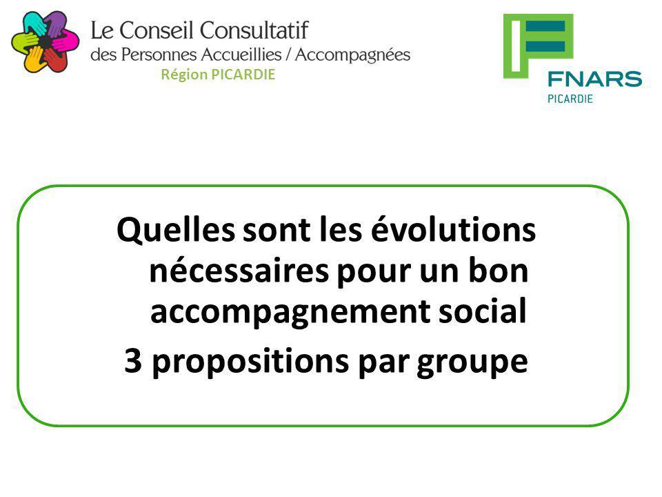 Quelles sont les évolutions nécessaires pour un bon accompagnement social 3 propositions par groupe Région PICARDIE