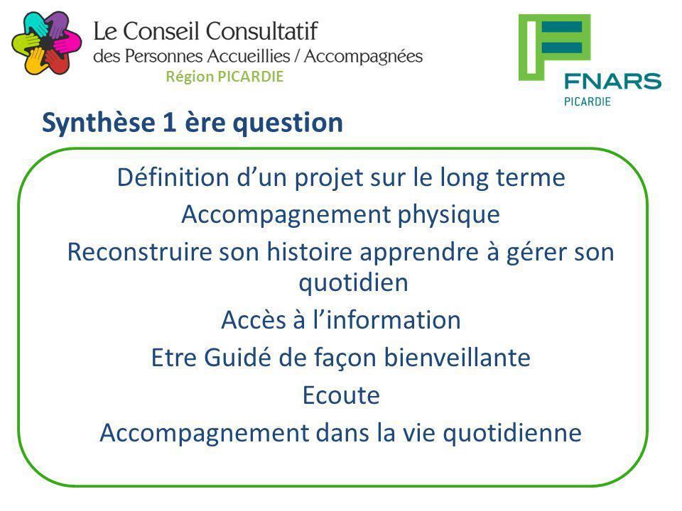 Synthèse 1 ère question Définition d'un projet sur le long terme Accompagnement physique Reconstruire son histoire apprendre à gérer son quotidien Acc