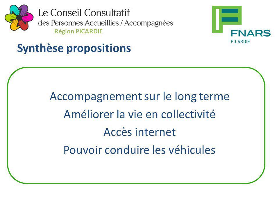 Synthèse propositions Accompagnement sur le long terme Améliorer la vie en collectivité Accès internet Pouvoir conduire les véhicules Région PICARDIE