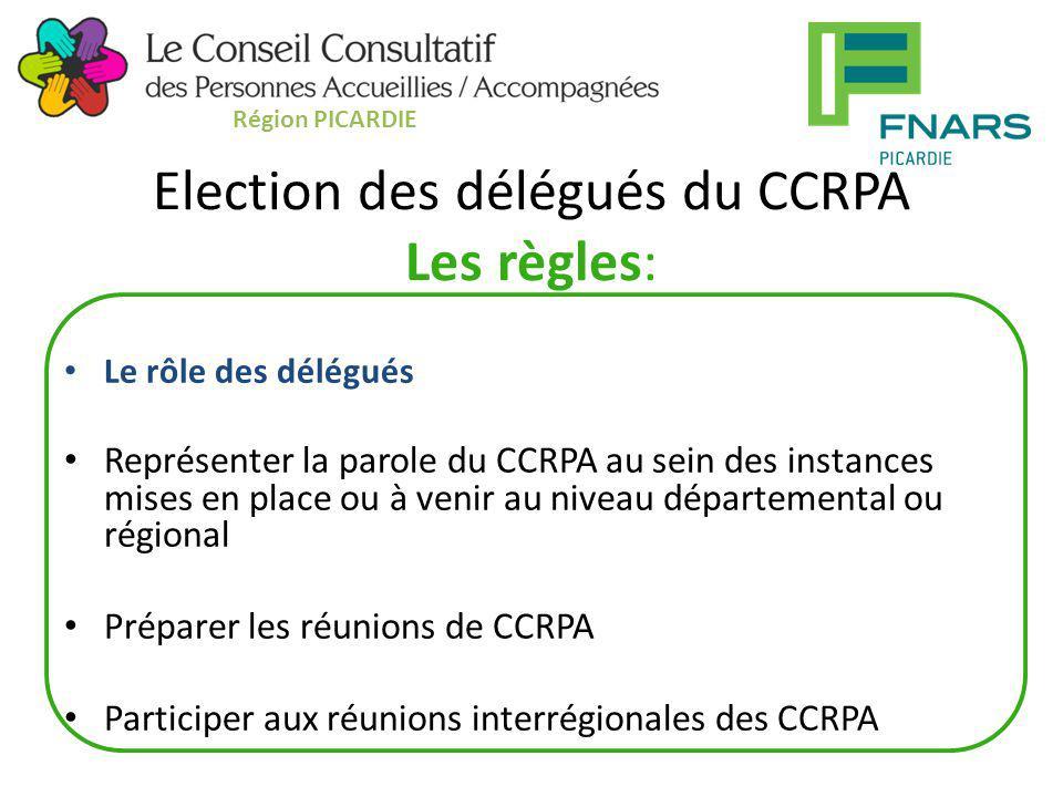 Election des délégués du CCRPA Les règles: Le rôle des délégués Représenter la parole du CCRPA au sein des instances mises en place ou à venir au nive
