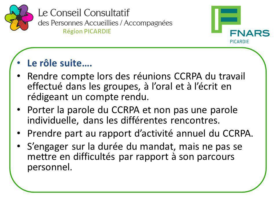 Le rôle suite…. Rendre compte lors des réunions CCRPA du travail effectué dans les groupes, à l'oral et à l'écrit en rédigeant un compte rendu. Porter