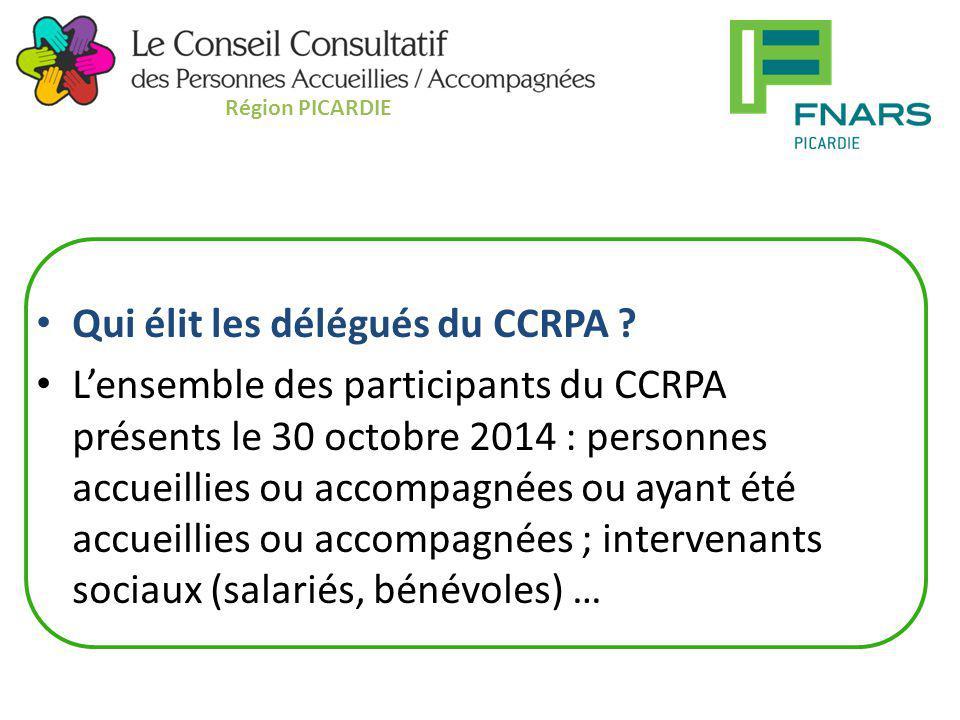 Qui élit les délégués du CCRPA ? L'ensemble des participants du CCRPA présents le 30 octobre 2014 : personnes accueillies ou accompagnées ou ayant été