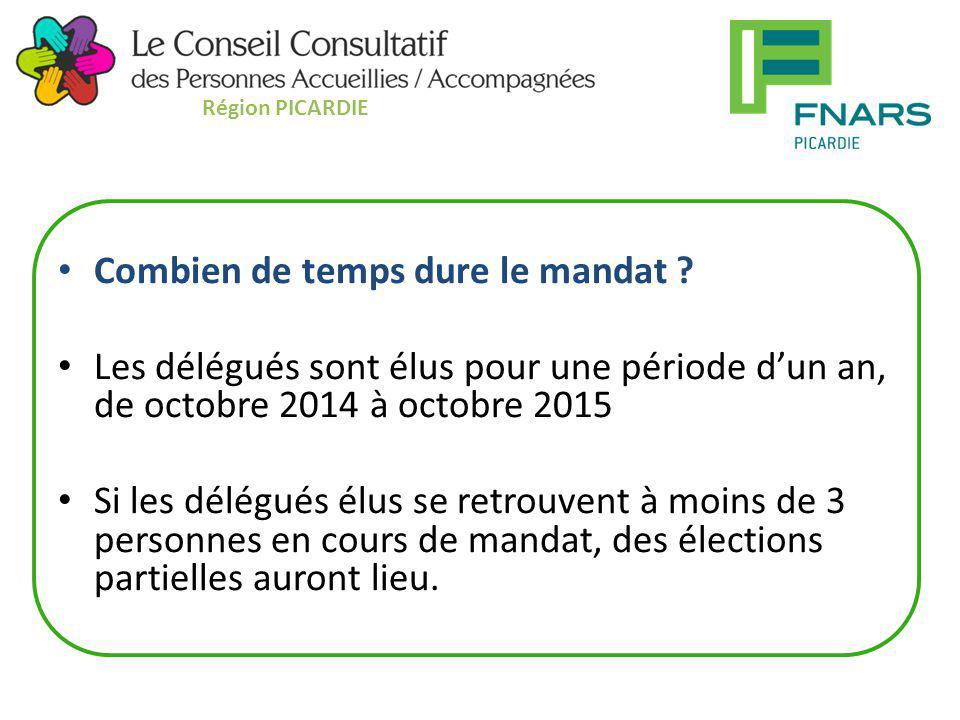 Combien de temps dure le mandat ? Les délégués sont élus pour une période d'un an, de octobre 2014 à octobre 2015 Si les délégués élus se retrouvent à