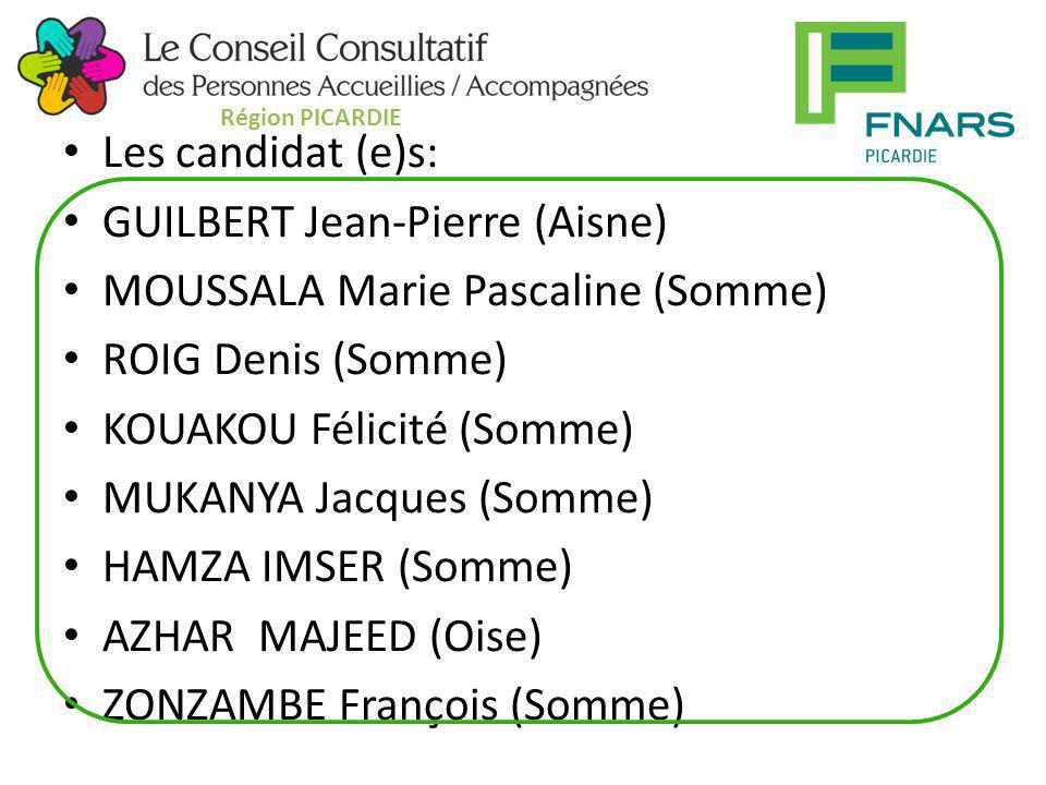 Les candidat (e)s: GUILBERT Jean-Pierre (Aisne) MOUSSALA Marie Pascaline (Somme) ROIG Denis (Somme) KOUAKOU Félicité (Somme) MUKANYA Jacques (Somme) H