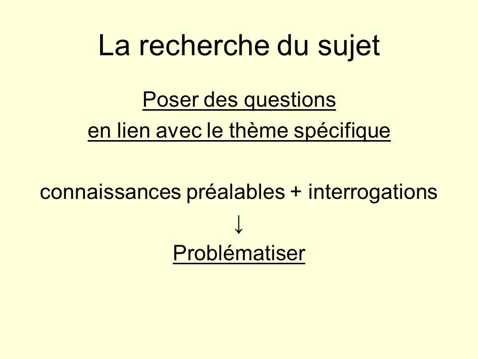 La recherche du sujet Poser des questions en lien avec le thème spécifique connaissances préalables + interrogations ↓ Problématiser