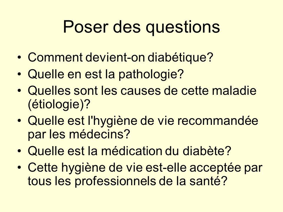 Poser des questions Comment devient-on diabétique? Quelle en est la pathologie? Quelles sont les causes de cette maladie (étiologie)? Quelle est l'hyg