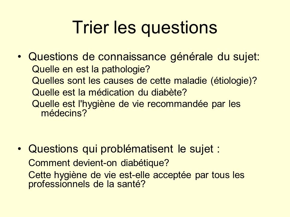 Trier les questions Questions de connaissance générale du sujet: Quelle en est la pathologie? Quelles sont les causes de cette maladie (étiologie)? Qu