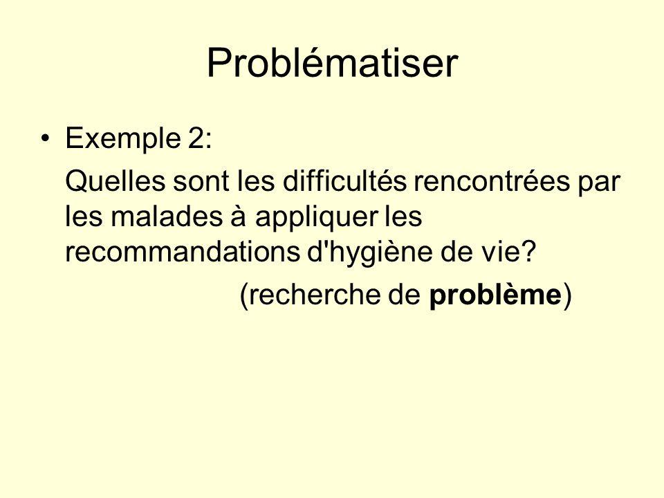Problématiser Exemple 2: Quelles sont les difficultés rencontrées par les malades à appliquer les recommandations d'hygiène de vie? (recherche de prob