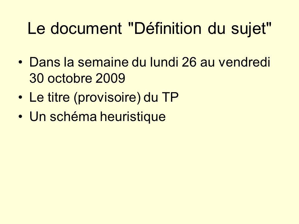 Le document Définition du sujet Dans la semaine du lundi 26 au vendredi 30 octobre 2009 Le titre (provisoire) du TP Un schéma heuristique La problématique