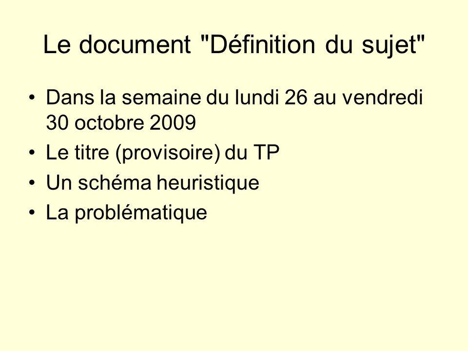 Le document Définition du sujet Dans la semaine du lundi 26 au vendredi 30 octobre 2009 Le titre (provisoire) du TP Un schéma heuristique La problématique Les méthodes et démarches envisagées pour réaliser le travail