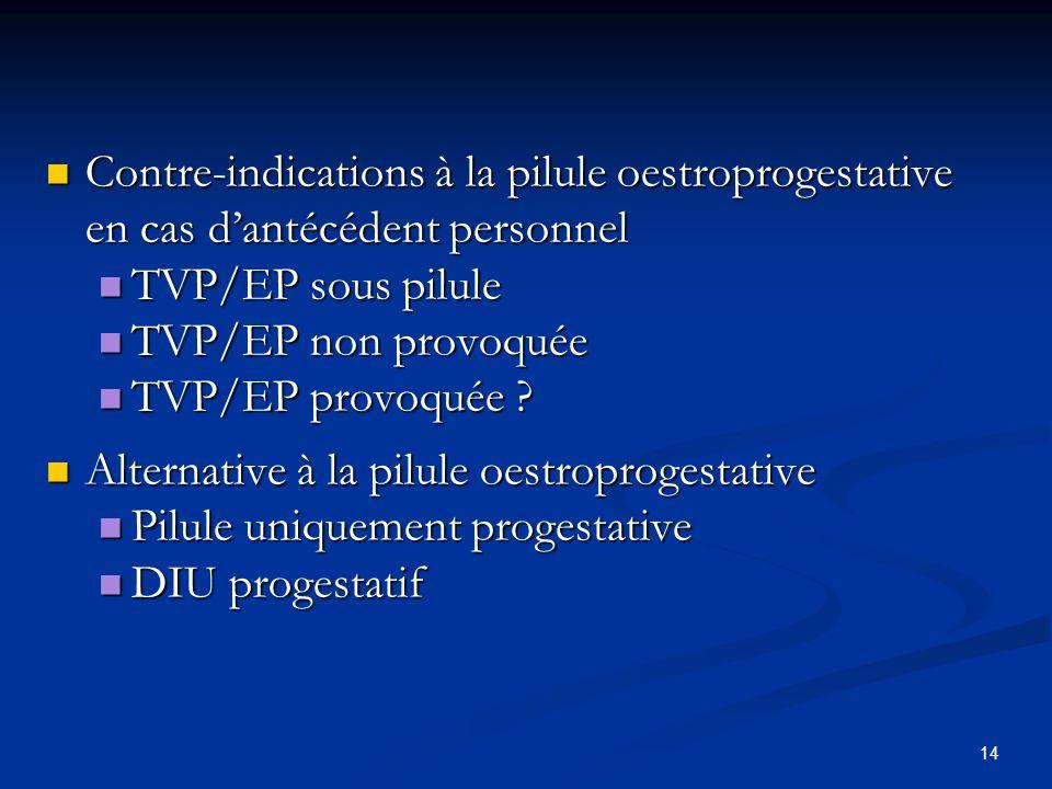 Contre-indications à la pilule oestroprogestative en cas d'antécédent personnel Contre-indications à la pilule oestroprogestative en cas d'antécédent personnel TVP/EP sous pilule TVP/EP sous pilule TVP/EP non provoquée TVP/EP non provoquée TVP/EP provoquée .