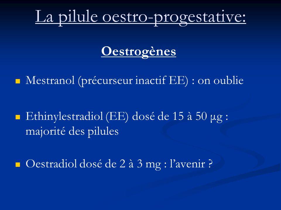 La pilule oestro-progestative: Oestrogènes Mestranol (précurseur inactif EE) : on oublie Ethinylestradiol (EE) dosé de 15 à 50 μg : majorité des pilules Oestradiol dosé de 2 à 3 mg : l'avenir ?