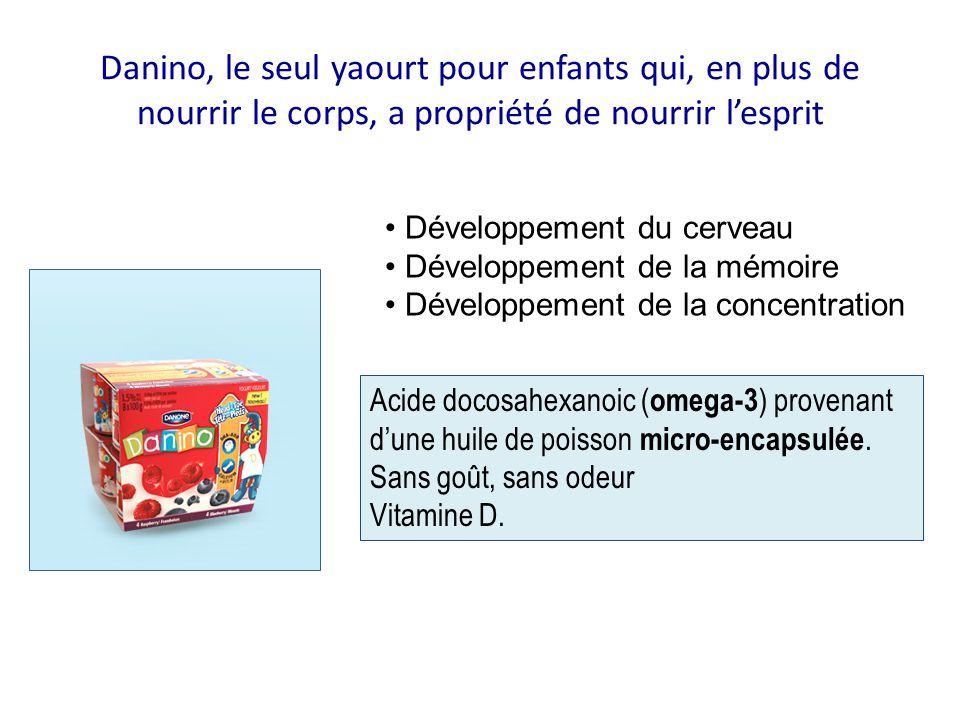 Danino, le seul yaourt pour enfants qui, en plus de nourrir le corps, a propriété de nourrir l'esprit Développement du cerveau Développement de la mém