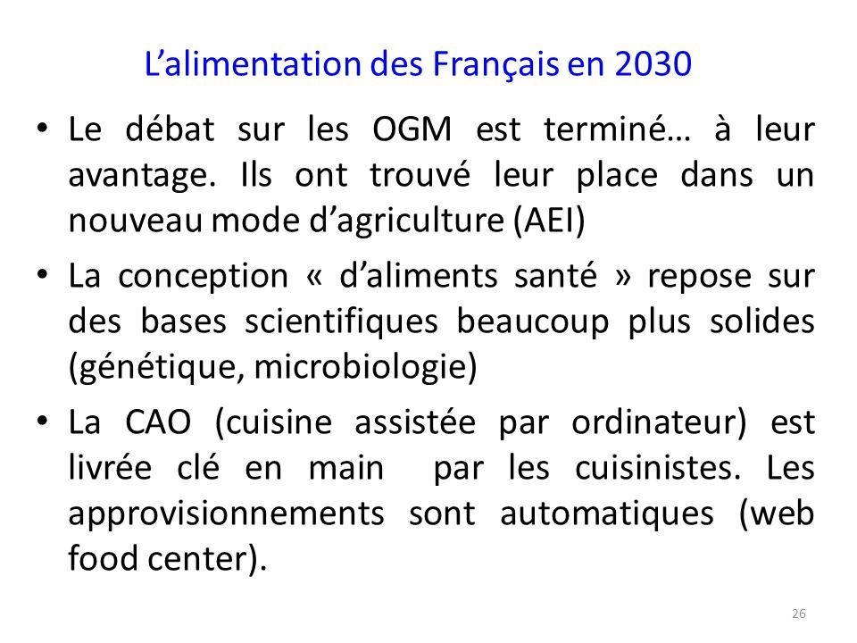 L'alimentation des Français en 2030 Le débat sur les OGM est terminé… à leur avantage. Ils ont trouvé leur place dans un nouveau mode d'agriculture (A