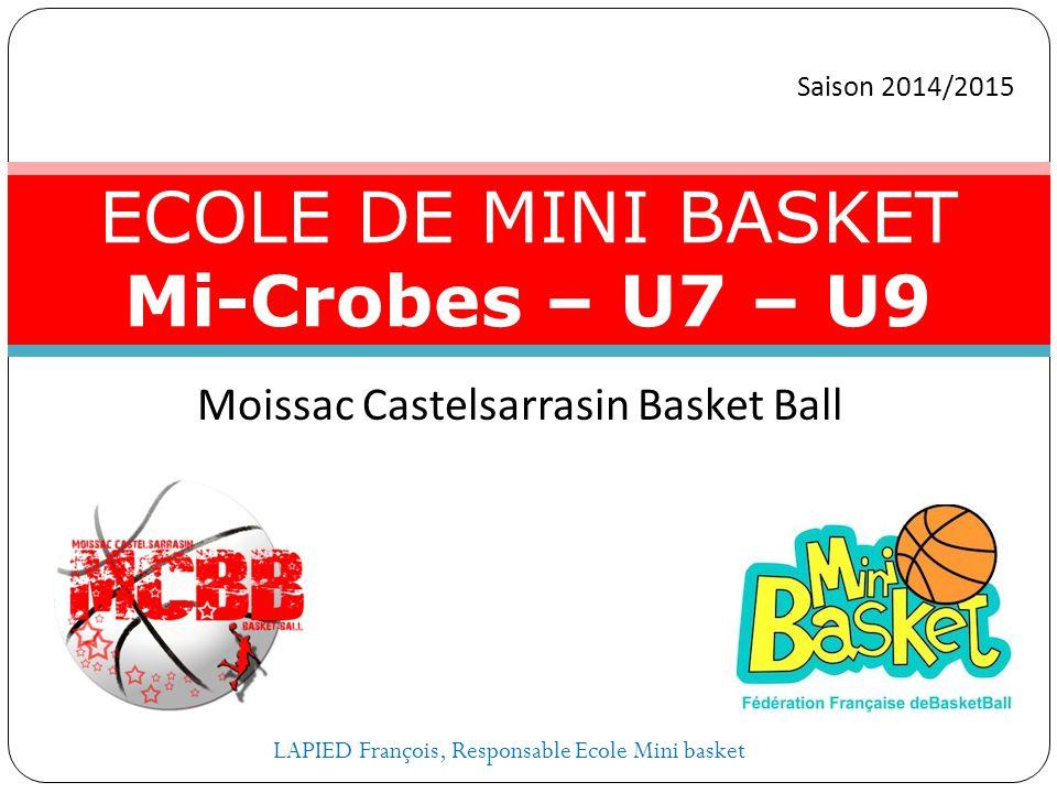 Moissac Castelsarrasin Basket Ball ECOLE DE MINI BASKET Mi-Crobes – U7 – U9 Saison 2014/2015 LAPIED François, Responsable Ecole Mini basket