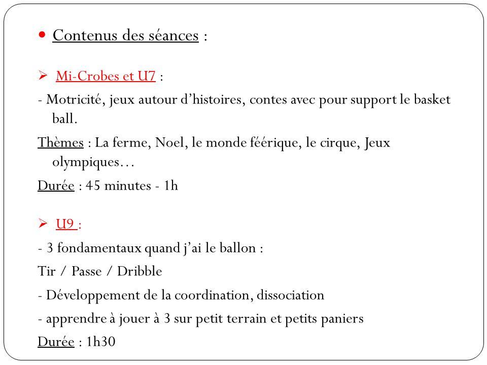 Contenus des séances :  Mi-Crobes et U7 : - Motricité, jeux autour d'histoires, contes avec pour support le basket ball.