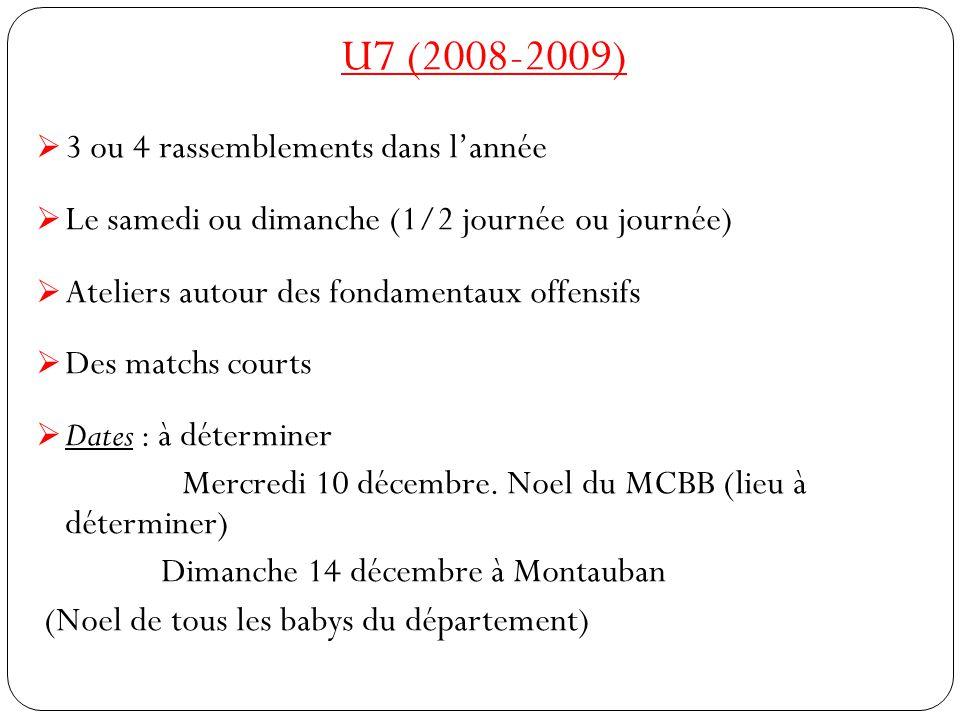 U7 (2008-2009)  3 ou 4 rassemblements dans l'année  Le samedi ou dimanche (1/2 journée ou journée)  Ateliers autour des fondamentaux offensifs  Des matchs courts  Dates : à déterminer Mercredi 10 décembre.