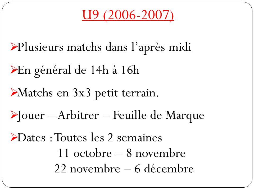 U9 (2006-2007)  Plusieurs matchs dans l'après midi  En général de 14h à 16h  Matchs en 3x3 petit terrain.