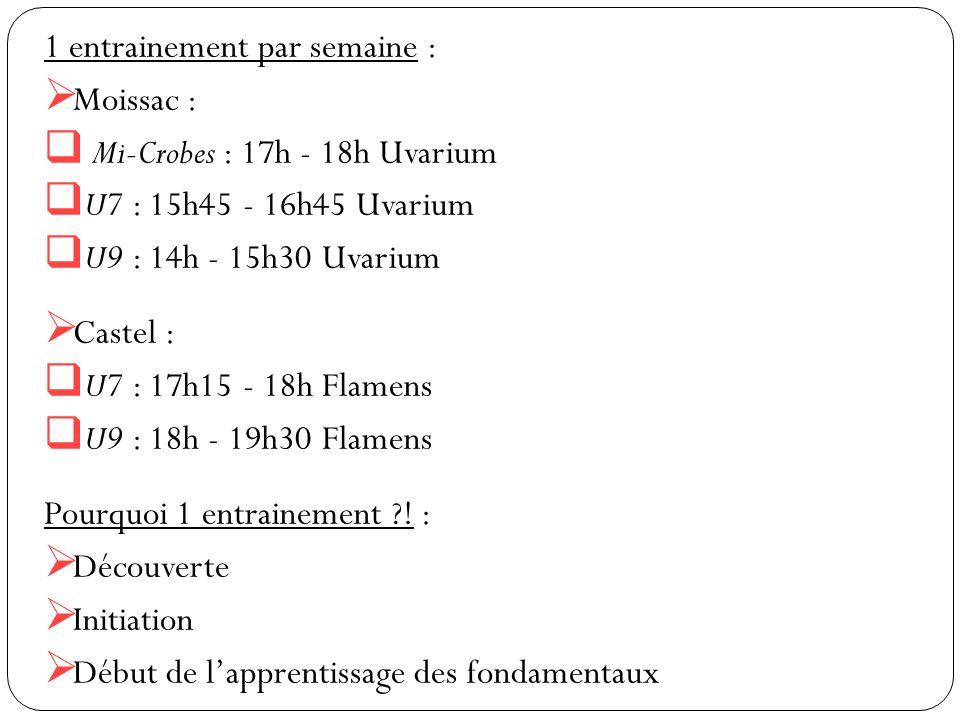 1 entrainement par semaine :  Moissac :  Mi-Crobes : 17h - 18h Uvarium  U7 : 15h45 - 16h45 Uvarium  U9 : 14h - 15h30 Uvarium  Castel :  U7 : 17h15 - 18h Flamens  U9 : 18h - 19h30 Flamens Pourquoi 1 entrainement ?.