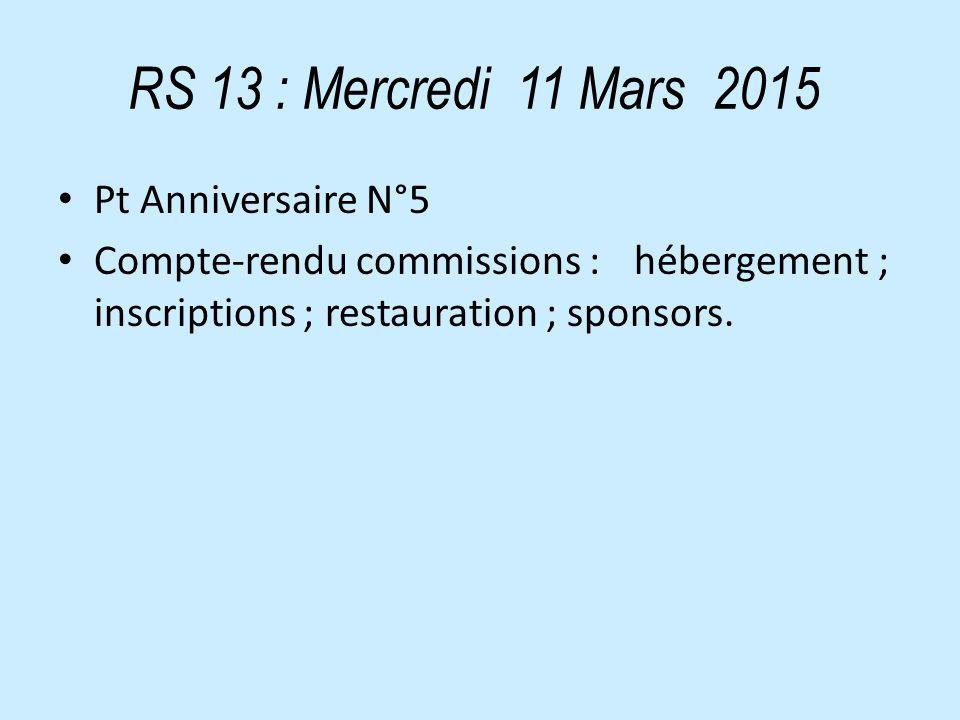 RS 13 : Mercredi 11 Mars 2015 Pt Anniversaire N°5 Compte-rendu commissions : hébergement ; inscriptions ; restauration ; sponsors.