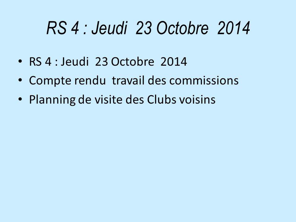 RS 4 : Jeudi 23 Octobre 2014 Compte rendu travail des commissions Planning de visite des Clubs voisins
