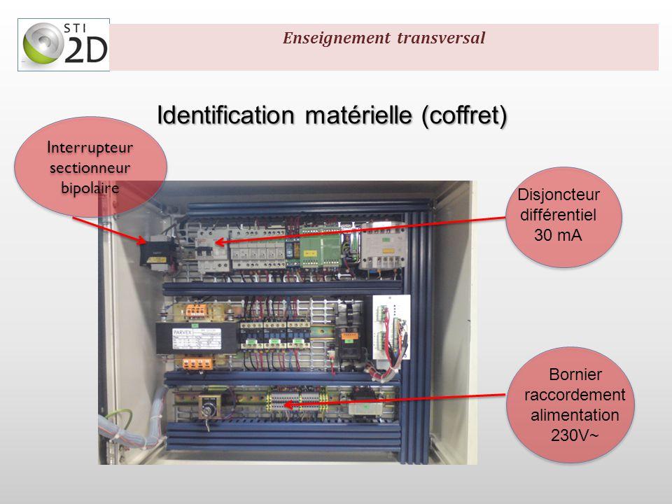 Identification matérielle Acquérir Acquisition: -Dytachy 6mV/tr -Codeur incrémental 170 pts/tr -Détecteurs inductifs Acquisition: -Dytachy 6mV/tr -Codeur incrémental 170 pts/tr -Détecteurs inductifs Enseignement transversal
