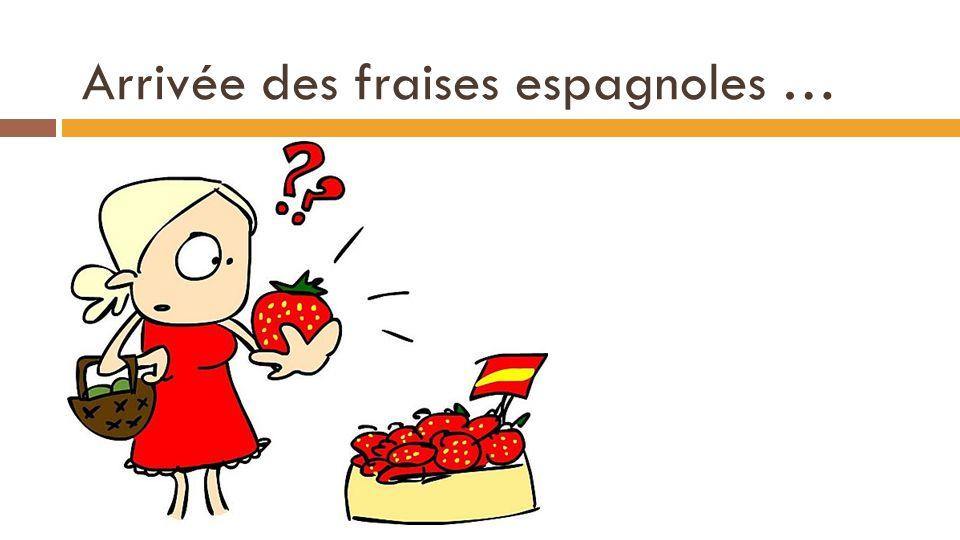 Arrivée des fraises espagnoles … Q D (p) = - 6p + 48 Q O (p) = 8p – 8 23