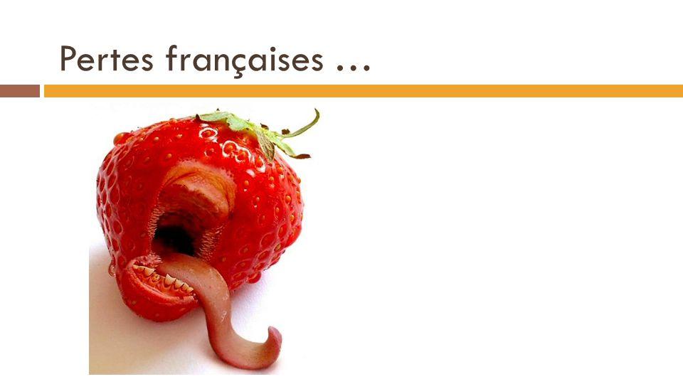 Pertes françaises … « Perte » par kilo : 4€ - 2,87€ = 1,13€ « Perte » par tonne : 1130€ Tonnage vendu par les français : Q O (p) = 8*(2,87) – 8 Q O (p