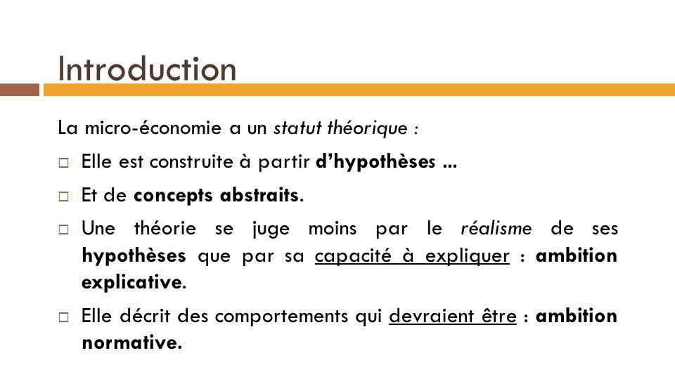 Introduction La micro-économie a un statut théorique :  Elle est construite à partir d'hypothèses...  Et de concepts abstraits.  Une théorie se jug