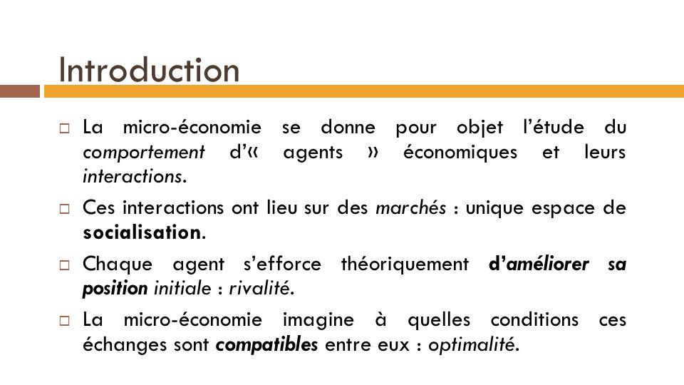 Introduction  La micro-économie se donne pour objet l'étude du comportement d'« agents » économiques et leurs interactions.  Ces interactions ont li