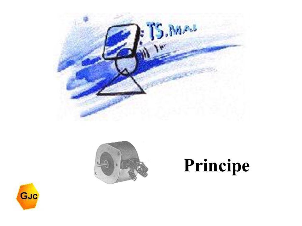 Moteur pas à pas Principe Le moteur pas à pas tourne d'un angle constant chaque fois qu'il reçoit une impulsion au stator.
