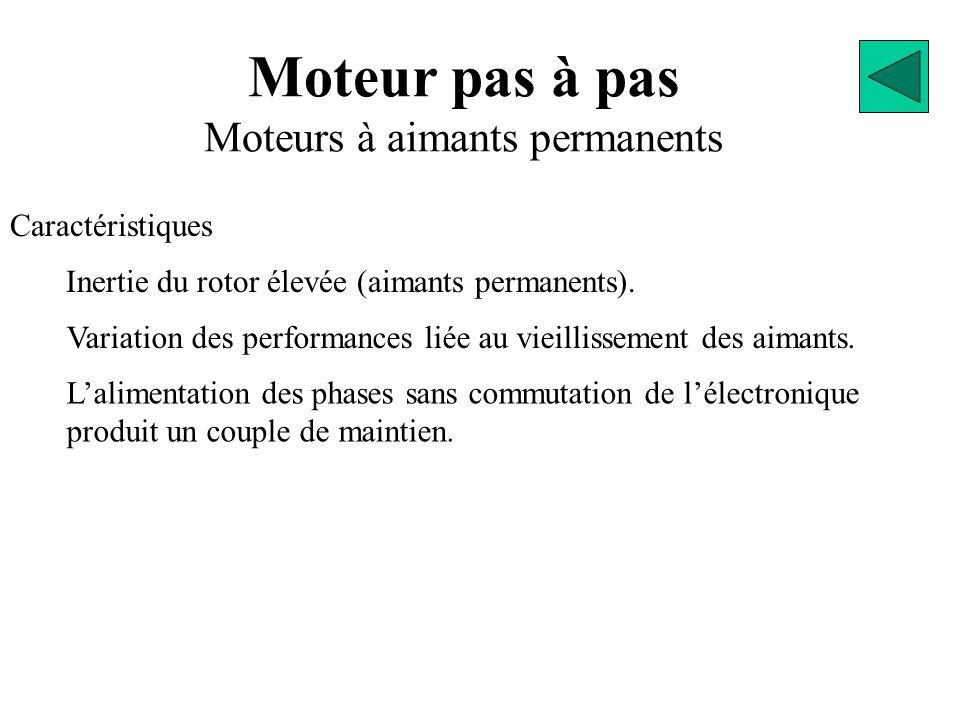 Moteur pas à pas Moteurs à aimants permanents Caractéristiques L'alimentation des phases sans commutation de l'électronique produit un couple de maintien.