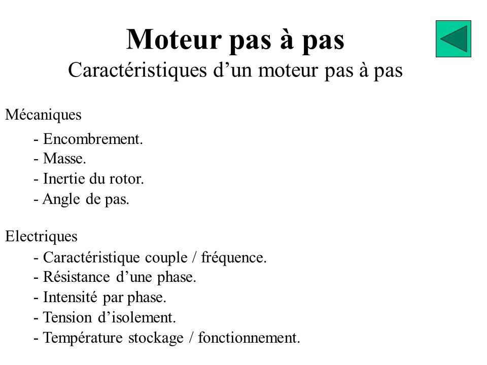 Moteur pas à pas Caractéristiques d'un moteur pas à pas Mécaniques - Encombrement. - Masse. - Inertie du rotor. - Angle de pas. Electriques - Caractér