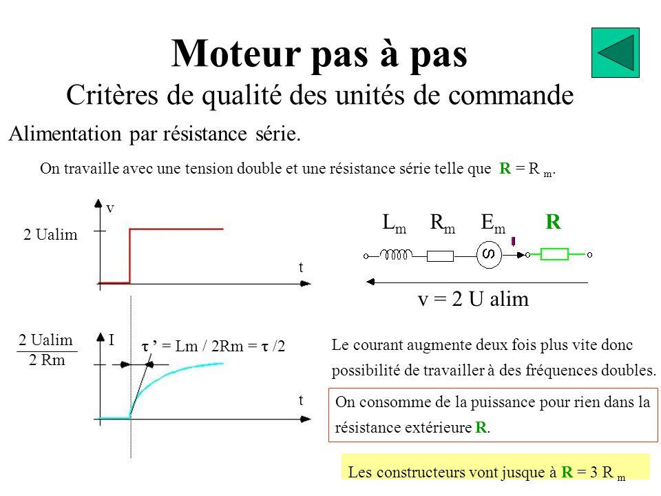 Moteur pas à pas Critères de qualité des unités de commande On travaille avec une tension double et une résistance série telle que R = R m.