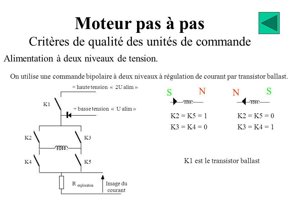 Moteur pas à pas Critères de qualité des unités de commande On utilise une commande bipolaire à deux niveaux à régulation de courant par transistor ballast.