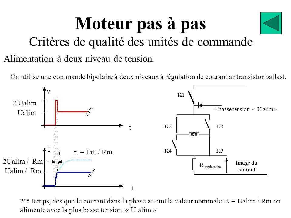 Moteur pas à pas Critères de qualité des unités de commande On utilise une commande bipolaire à deux niveaux à régulation de courant ar transistor ballast.