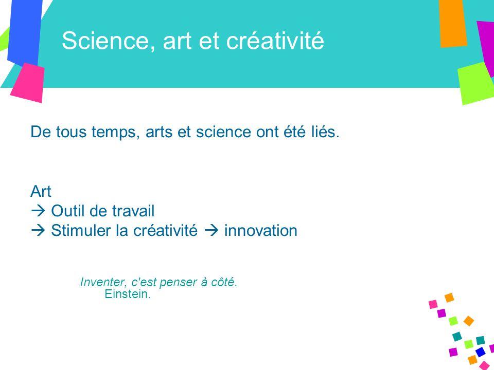 Science, art et créativité De tous temps, arts et science ont été liés.