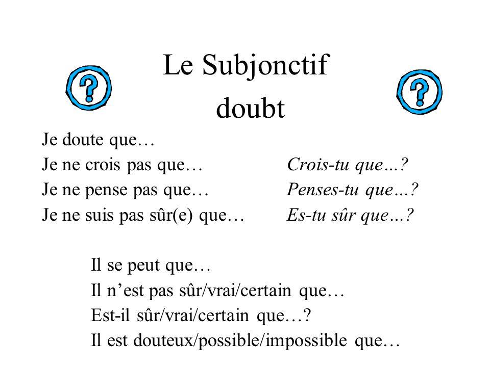 Le Subjonctif doubt Je doute que… Je ne crois pas que… Crois-tu que….