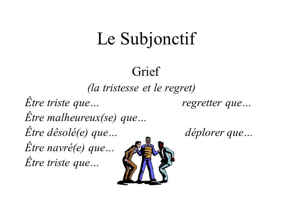 Le Subjonctif Grief (la tristesse et le regret) Être triste que… regretter que… Être malheureux(se) que… Être dêsolé(e) que… déplorer que… Être navré(e) que… Être triste que…