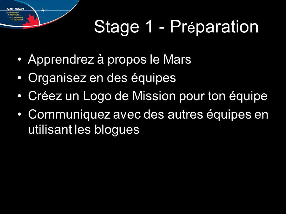 Stage 1 - Pr é paration Apprendrez à propos le Mars Organisez en des équipes Créez un Logo de Mission pour ton équipe Communiquez avec des autres équipes en utilisant les blogues