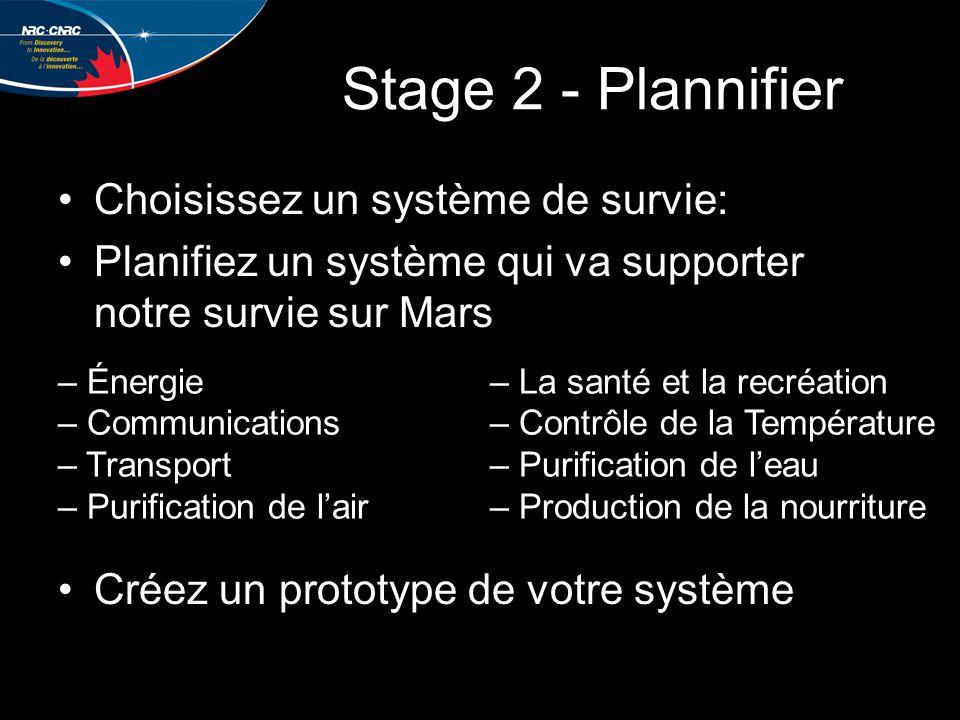 Stage 2 - Plannifier Choisissez un système de survie: Planifiez un système qui va supporter notre survie sur Mars Créez un prototype de votre système – Énergie– La santé et la recréation – Communications– Contrôle de la Température – Transport– Purification de l'eau – Purification de l'air– Production de la nourriture