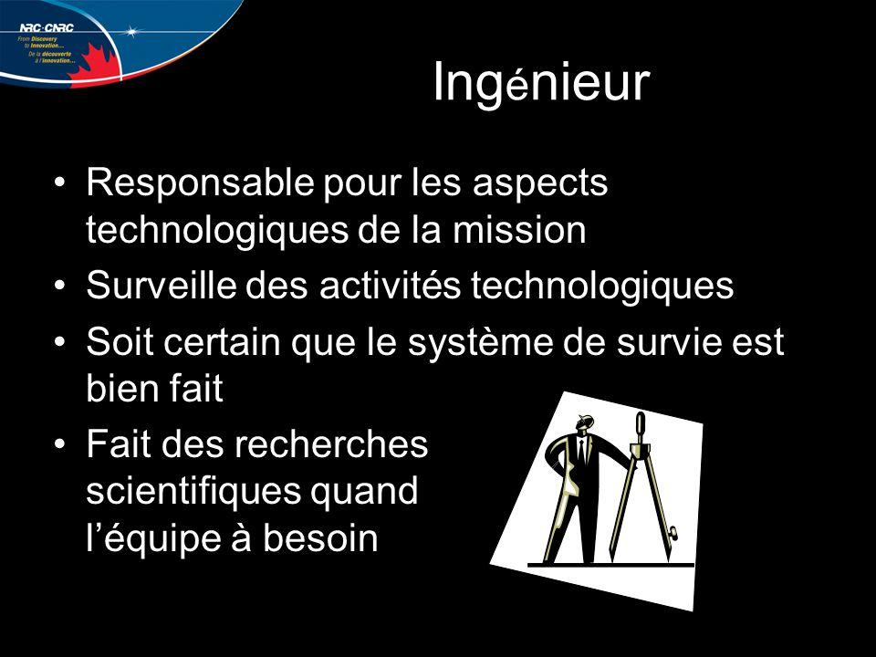 Ing é nieur Responsable pour les aspects technologiques de la mission Surveille des activités technologiques Soit certain que le système de survie est bien fait Fait des recherches scientifiques quand l'équipe à besoin