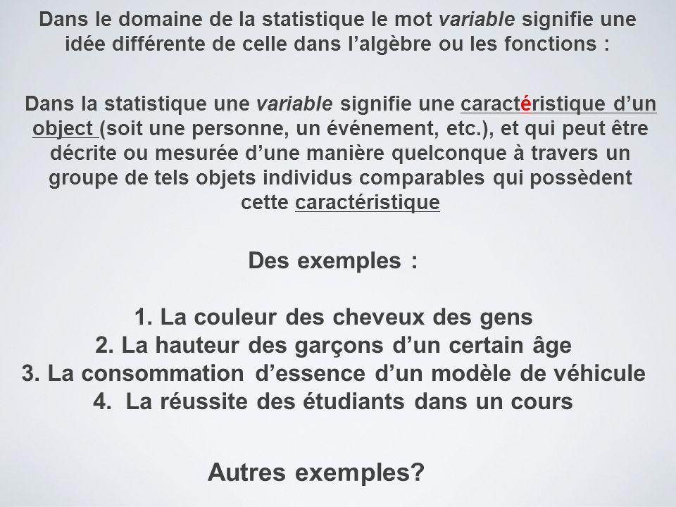 Dans le domaine de la statistique le mot variable signifie une idée différente de celle dans l'algèbre ou les fonctions : Des exemples : 1.