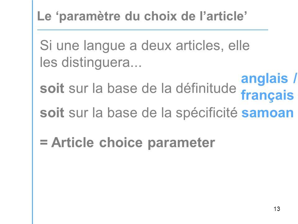 13 Le 'paramètre du choix de l'article' Si une langue a deux articles, elle les distinguera...