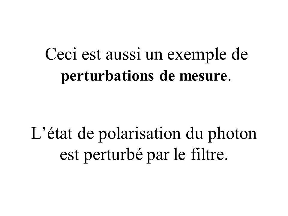 L'état de polarisation du photon est perturbé par le filtre. Ceci est aussi un exemple de perturbations de mesure.