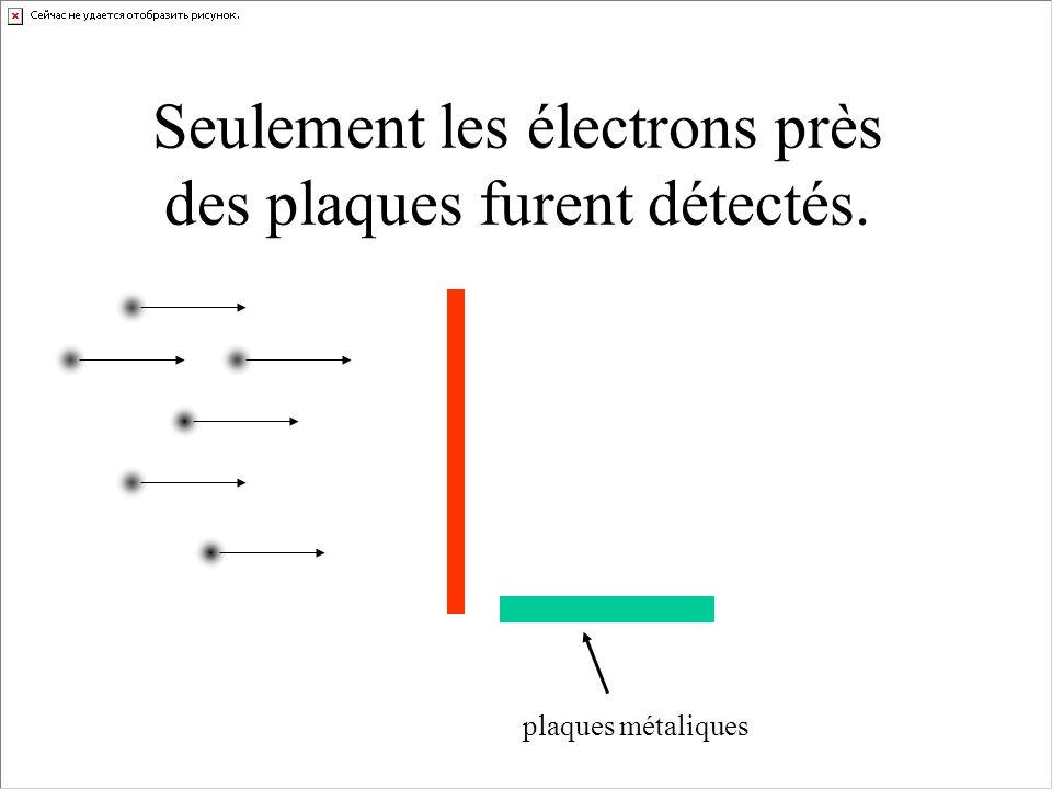 Seulement les électrons près des plaques furent détectés. plaques métaliques