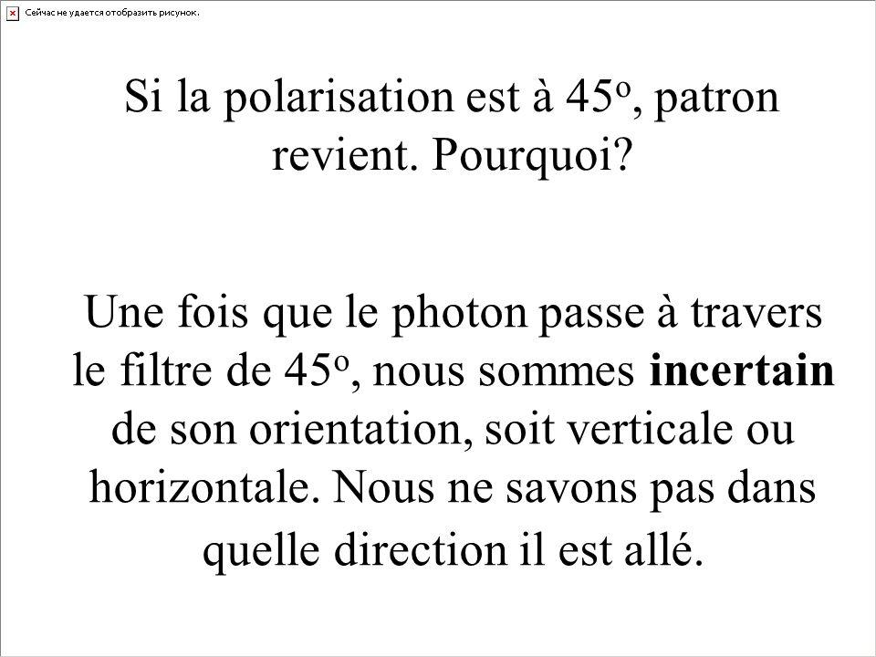 Si la polarisation est à 45 o, patron revient. Pourquoi? Une fois que le photon passe à travers le filtre de 45 o, nous sommes incertain de son orient