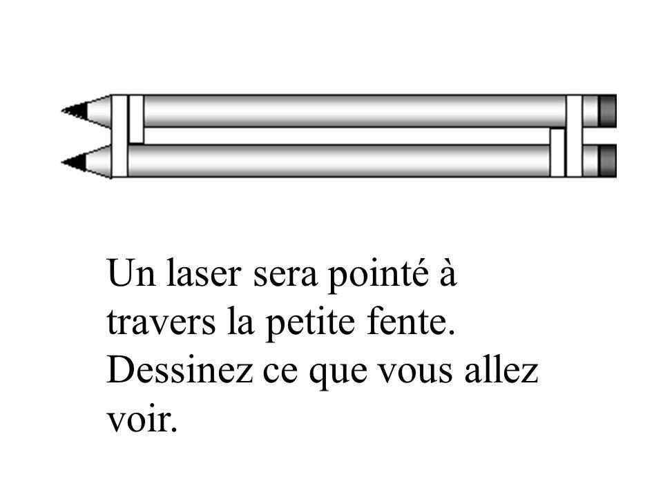 Un laser sera pointé à travers la petite fente. Dessinez ce que vous allez voir.